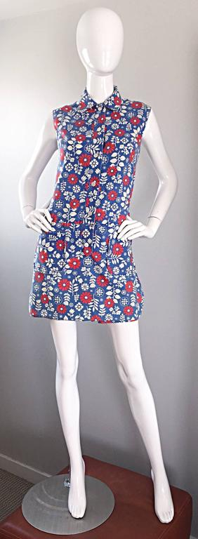 Rare 1960s Abercrombie & Fitch Romper Jumpsuit with Skort Red White & Blue 4