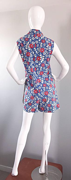 Rare 1960s Abercrombie & Fitch Romper Jumpsuit with Skort Red White & Blue For Sale 1