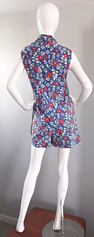 Rare 1960s Abercrombie & Fitch Romper Jumpsuit with Skort Red White & Blue For Sale 2