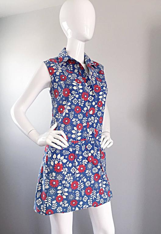 Rare 1960s Abercrombie & Fitch Romper Jumpsuit with Skort Red White & Blue 8