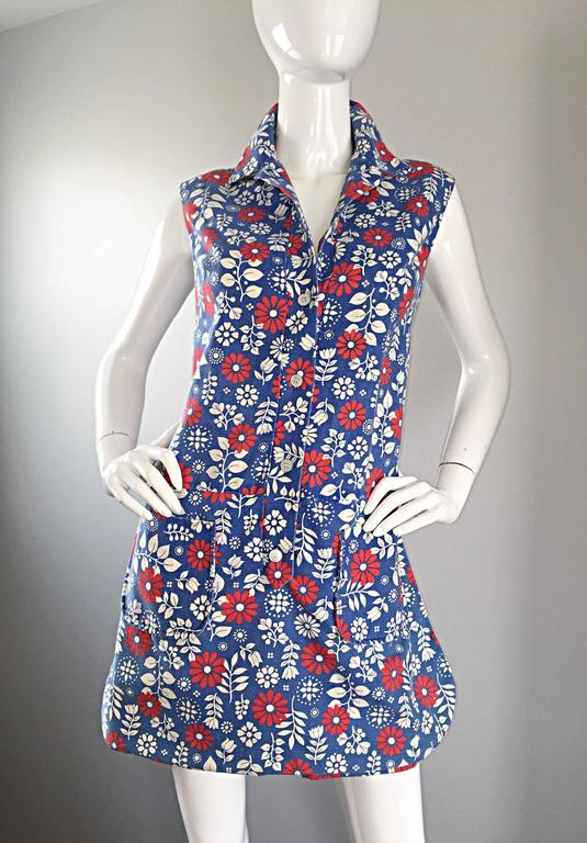Rare 1960s Abercrombie & Fitch Romper Jumpsuit with Skort Red White & Blue For Sale 4