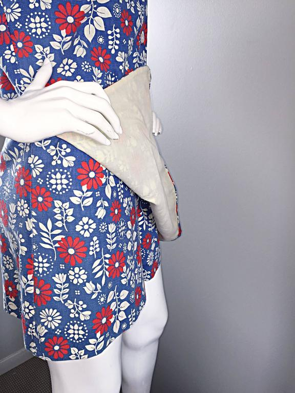 Rare 1960s Abercrombie & Fitch Romper Jumpsuit with Skort Red White & Blue 5