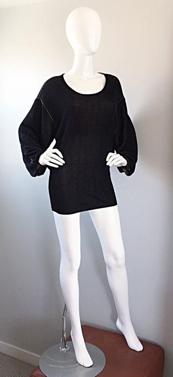 1980s Azzedine Alaia Blak Dolman Sleeve Vintage 80s Mini Dress or Sweater 7