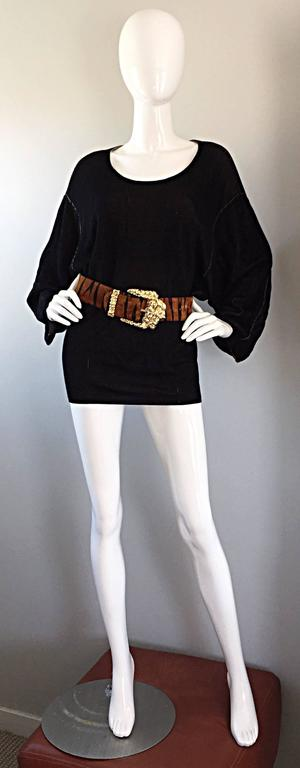 1980s Azzedine Alaia Blak Dolman Sleeve Vintage 80s Mini Dress or Sweater 5