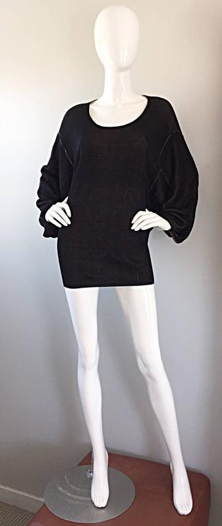 1980s Azzedine Alaia Blak Dolman Sleeve Vintage 80s Mini Dress or Sweater 2