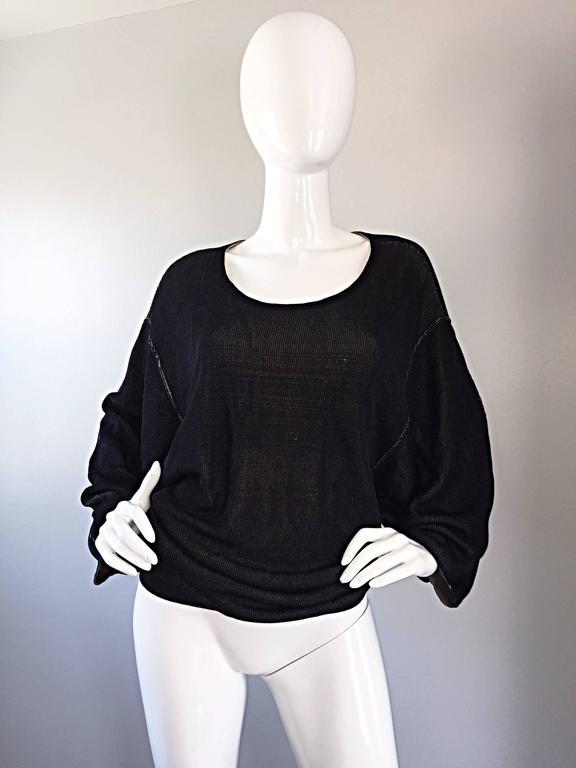 1980s Azzedine Alaia Blak Dolman Sleeve Vintage 80s Mini Dress or Sweater 3