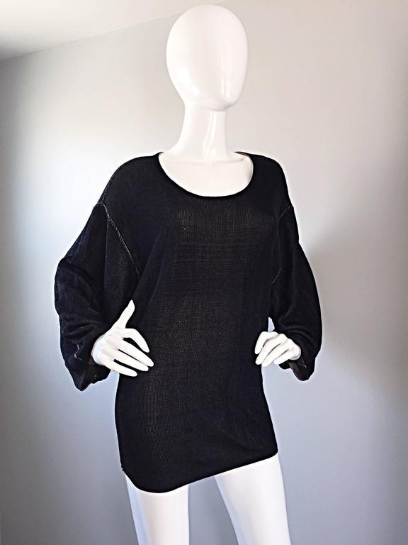 1980s Azzedine Alaia Blak Dolman Sleeve Vintage 80s Mini Dress or Sweater 8