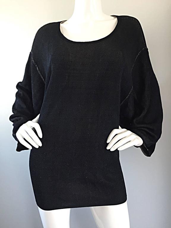 1980s Azzedine Alaia Blak Dolman Sleeve Vintage 80s Mini Dress or Sweater 9