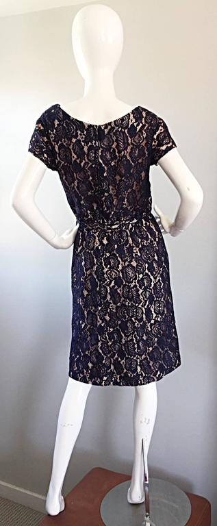 Beautiful 1950s 50s Navy Blue Lace And Nude Silk A Line