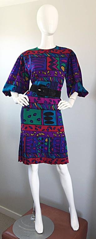 Purple 1980s Helga Howie Op - Art Vintage Drop Waist ' Heart ' Print Colorful Dress For Sale