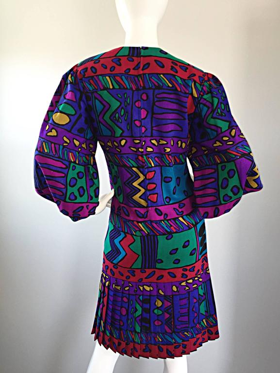 1980s Helga Howie Op - Art Vintage Drop Waist ' Heart ' Print Colorful Dress For Sale 3