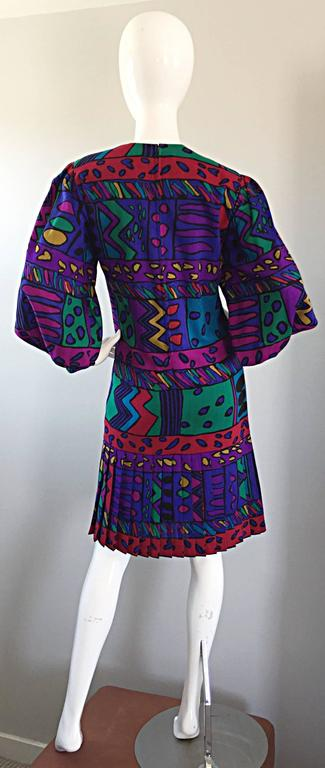 1980s Helga Howie Op - Art Vintage Drop Waist ' Heart ' Print Colorful Dress In Excellent Condition For Sale In Chicago, IL