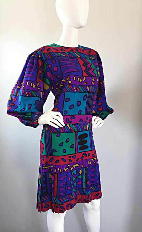 1980s Helga Howie Op - Art Vintage Drop Waist ' Heart ' Print Colorful Dress For Sale 1