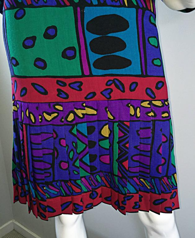 1980s Helga Howie Op - Art Vintage Drop Waist ' Heart ' Print Colorful Dress For Sale 2