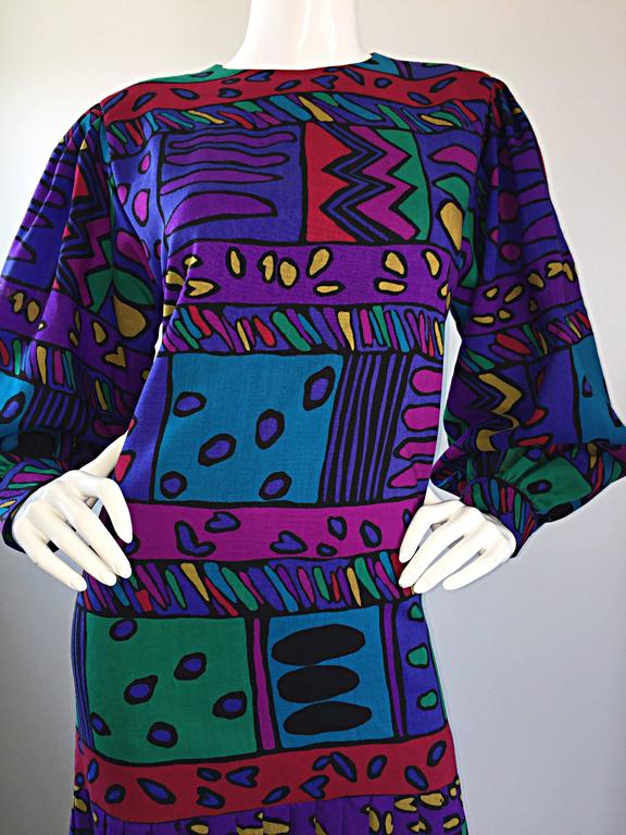 Women's 1980s Helga Howie Op - Art Vintage Drop Waist ' Heart ' Print Colorful Dress For Sale