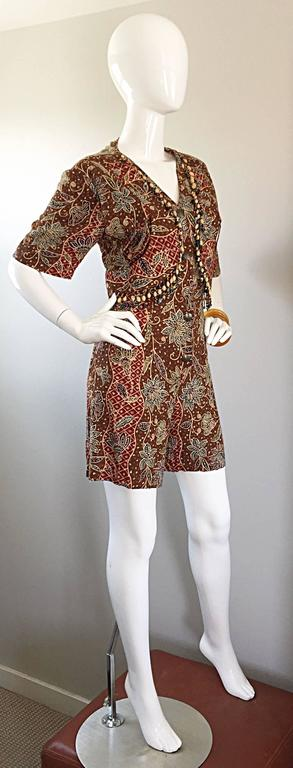 Amazing Vintage Romper Shorts Jumpsuit w/ Tribal Ethnic Print + Beads + Bells In Excellent Condition For Sale In Chicago, IL
