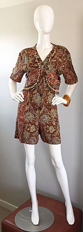 Amazing Vintage Romper Shorts Jumpsuit w/ Tribal Ethnic Print + Beads + Bells For Sale 1