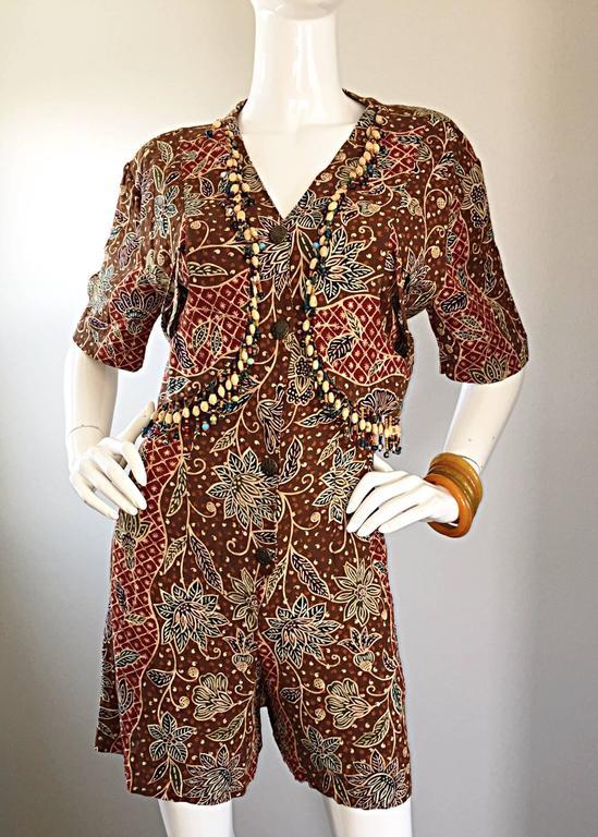 Amazing Vintage Romper Shorts Jumpsuit w/ Tribal Ethnic Print + Beads + Bells For Sale 4