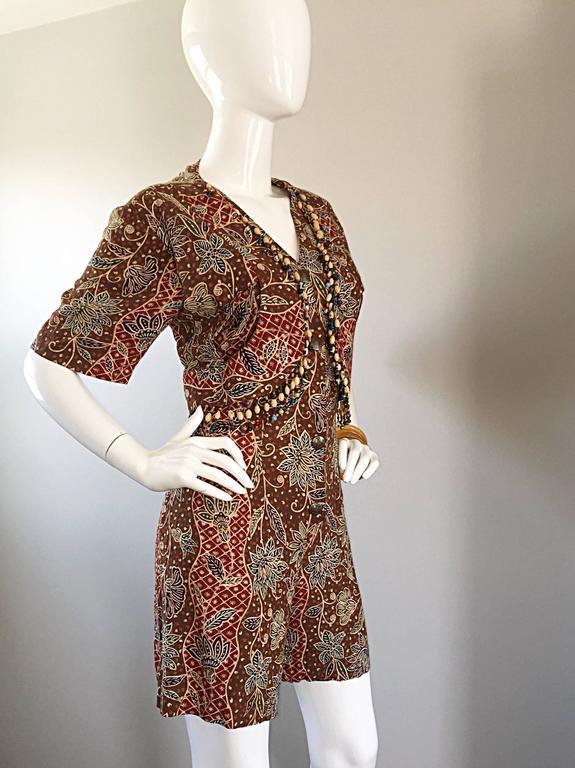 Amazing Vintage Romper Shorts Jumpsuit w/ Tribal Ethnic Print + Beads + Bells For Sale 3