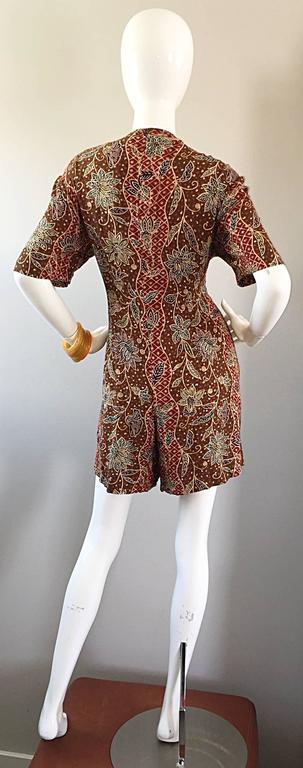 Amazing Vintage Romper Shorts Jumpsuit w/ Tribal Ethnic Print + Beads + Bells For Sale 2