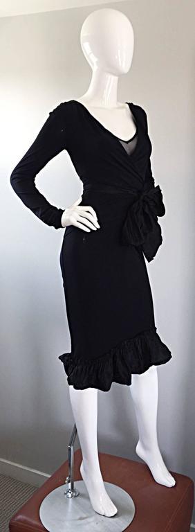 1990s Vera Wang Black Vintage Jersey Wrap Dress w/ Taffeta Mermaid Hem & Belt 4