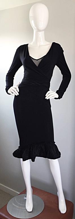 1990s Vera Wang Black Vintage Jersey Wrap Dress w/ Taffeta Mermaid Hem & Belt 8