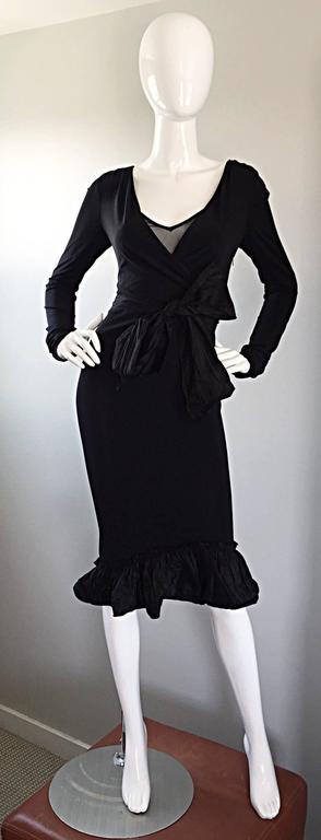 1990s Vera Wang Black Vintage Jersey Wrap Dress w/ Taffeta Mermaid Hem & Belt 9