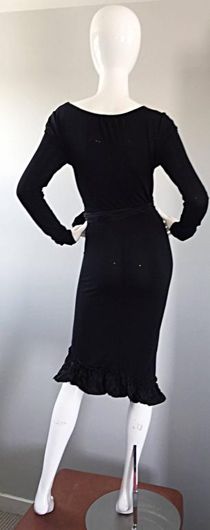 1990s Vera Wang Black Vintage Jersey Wrap Dress w/ Taffeta Mermaid Hem & Belt 5
