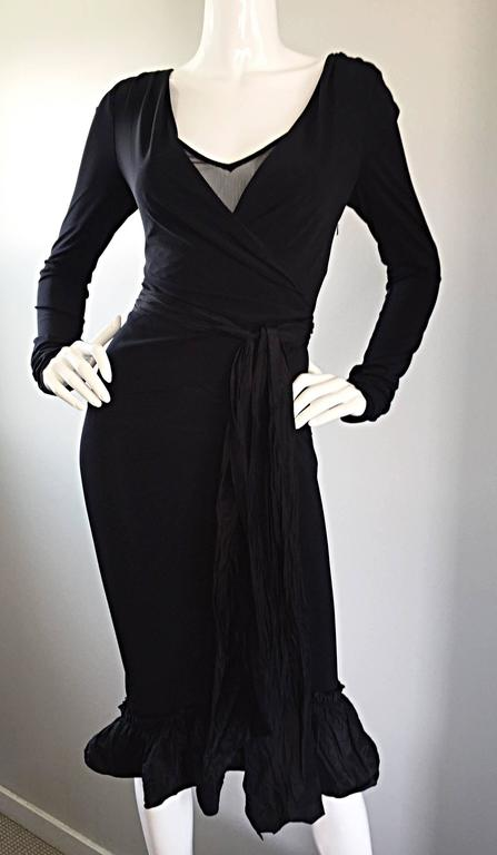 1990s Vera Wang Black Vintage Jersey Wrap Dress w/ Taffeta Mermaid Hem & Belt 7