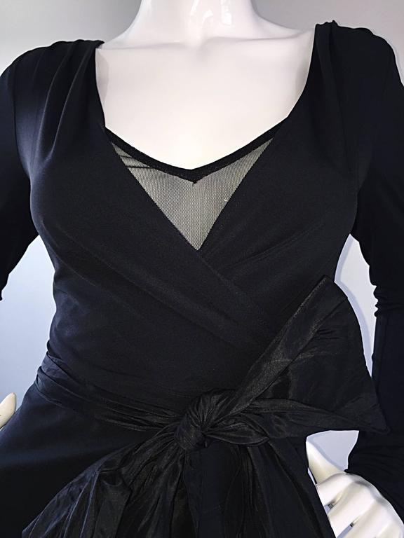 1990s Vera Wang Black Vintage Jersey Wrap Dress w/ Taffeta Mermaid Hem & Belt 6