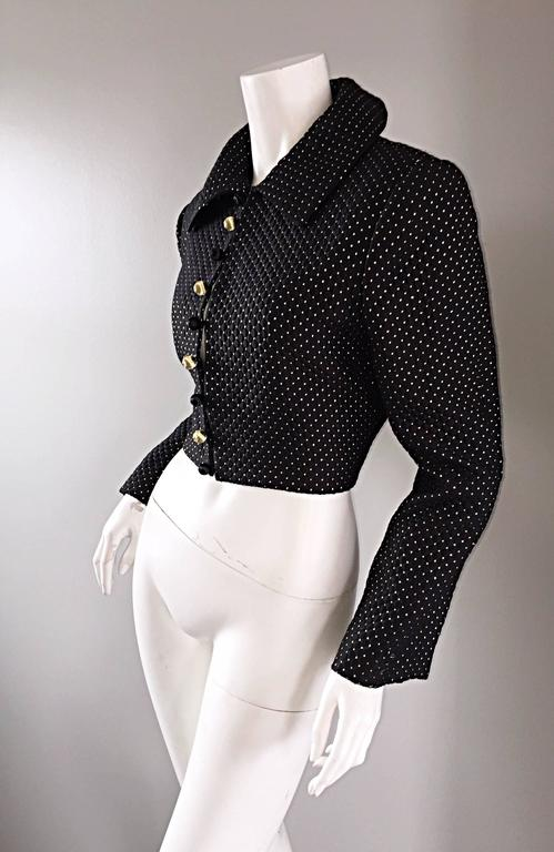 Carolyne Roehm for Saks 5th Avenue 1990s Black + Gold Silk Cropped Bolero Jacket For Sale 2