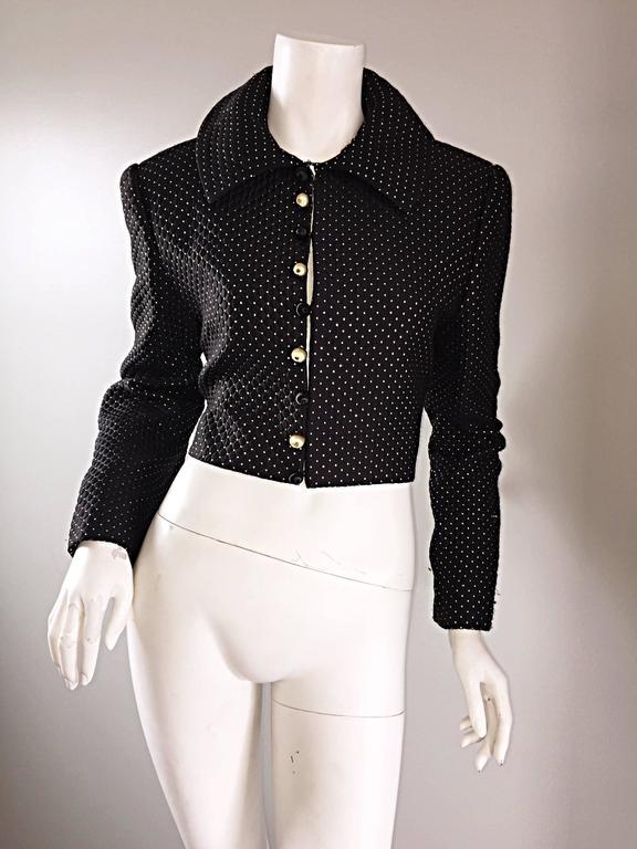 Carolyne Roehm for Saks 5th Avenue 1990s Black + Gold Silk Cropped Bolero Jacket For Sale 5