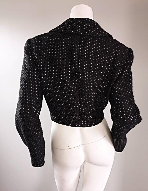 Carolyne Roehm for Saks 5th Avenue 1990s Black + Gold Silk Cropped Bolero Jacket For Sale 4
