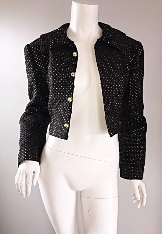 Carolyne Roehm for Saks 5th Avenue 1990s Black + Gold Silk Cropped Bolero Jacket For Sale 3
