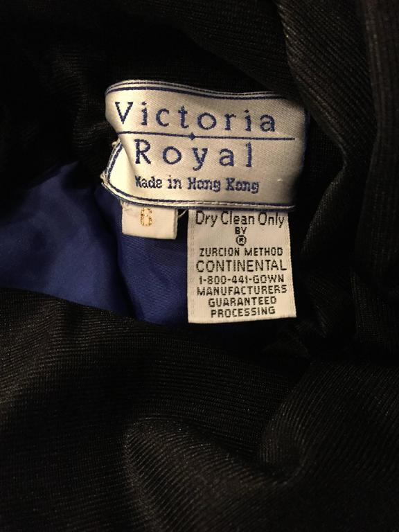 594e862bd2fdf Beautiful Vintage Victoria Royal Sapphire Blue + Black Beaded Silk Evening  Gown For Sale 4