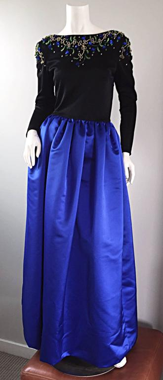 8c21ab200f98f Beautiful Vintage Victoria Royal Sapphire Blue + Black Beaded Silk Evening  Gown For Sale 3