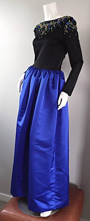 2f43c1b4b68e4 Women's Beautiful Vintage Victoria Royal Sapphire Blue + Black Beaded Silk  Evening Gown For Sale