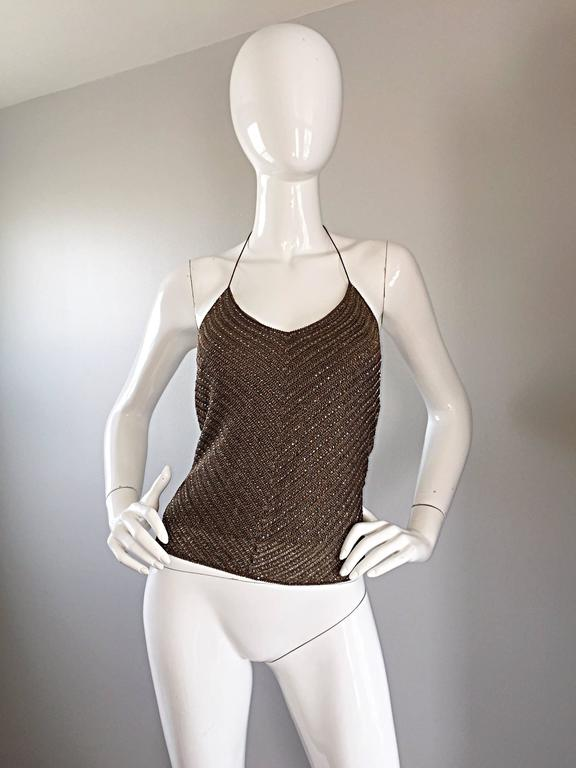 Ralph Lauren ' Black Label ' 90s Peacock Feather Brown Beaded Crochet Halter Top 9