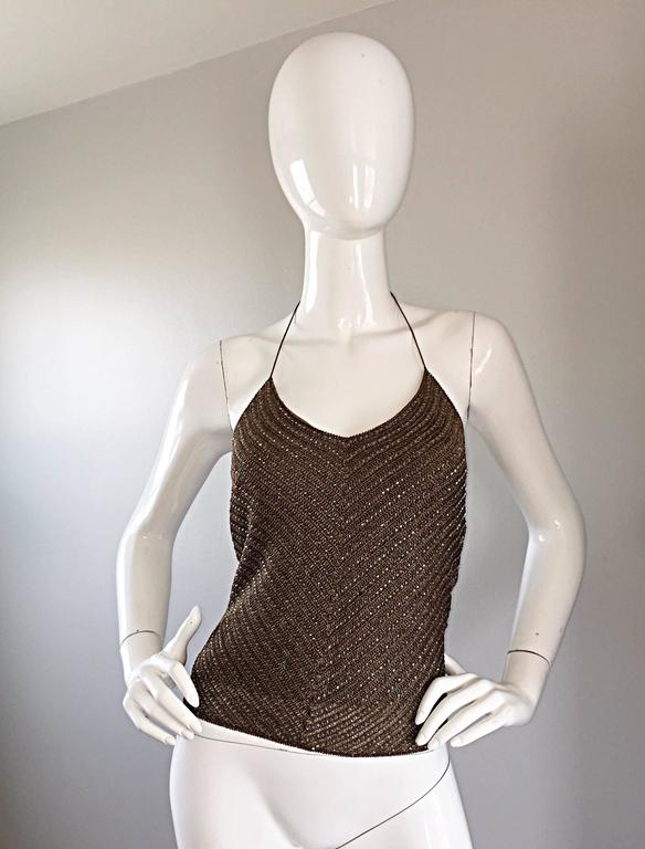 Ralph Lauren ' Black Label ' 90s Peacock Feather Brown Beaded Crochet Halter Top 2