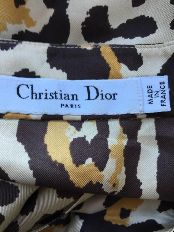 John Galliano For Christian Dior Leopard Cheetah Print 1940s Style Silk Dress For Sale 5