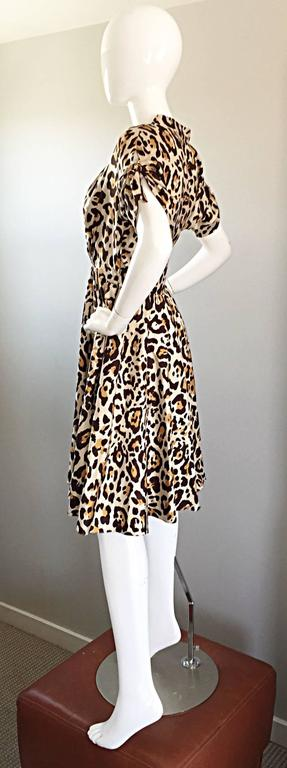 John Galliano Christian Dior Size 10 Leopard Cheetah 1940s Style Silk Dress For Sale 2