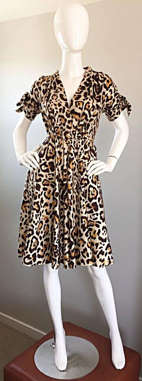 John Galliano Christian Dior Size 10 Leopard Cheetah 1940s Style Silk Dress For Sale 4