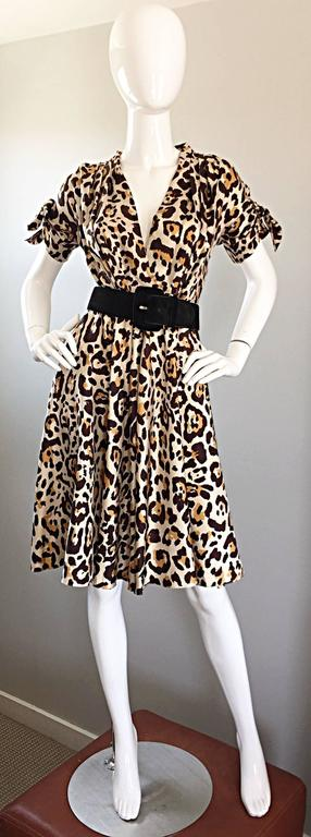 Women's John Galliano For Christian Dior Leopard Cheetah Print 1940s Style Silk Dress For Sale