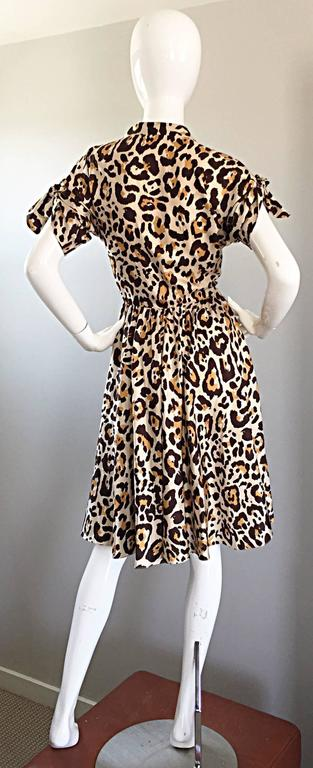 John Galliano Christian Dior Size 10 Leopard Cheetah 1940s Style Silk Dress For Sale 1