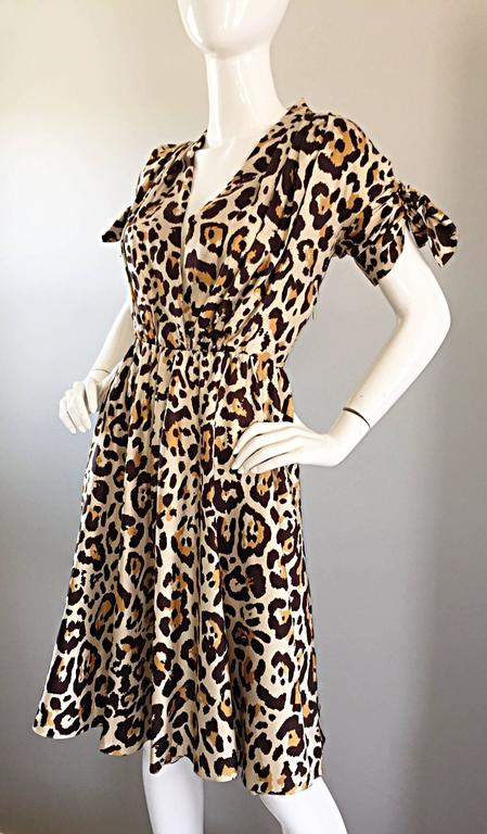 John Galliano Christian Dior Size 10 Leopard Cheetah 1940s Style Silk Dress For Sale 3