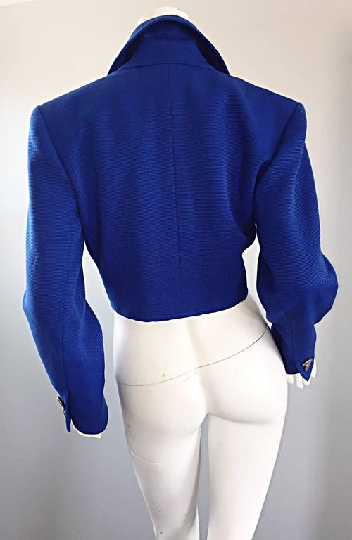 Vintage Yves Saint Laurent Rive Gauche Electric Royal Blue Cropped Bolero Jacket For Sale 3