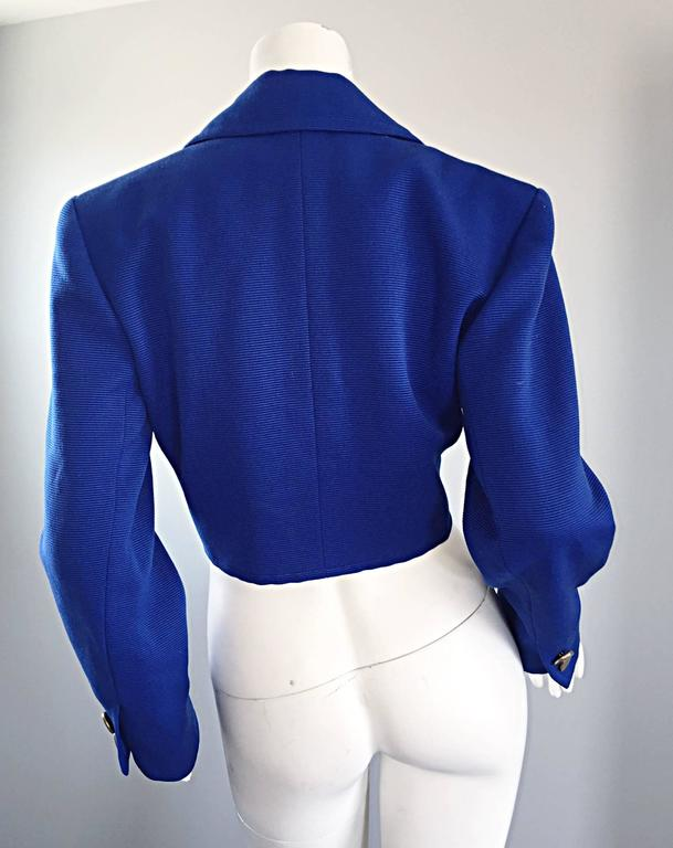 Vintage Yves Saint Laurent Rive Gauche Electric Royal Blue Cropped Bolero Jacket For Sale 1