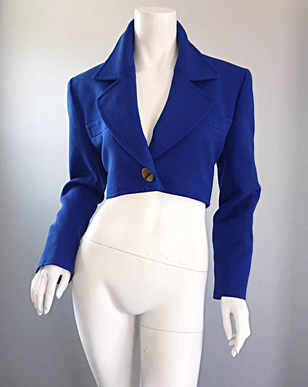 Women's Vintage Yves Saint Laurent Rive Gauche Electric Royal Blue Cropped Bolero Jacket For Sale