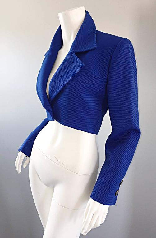 Purple Vintage Yves Saint Laurent Rive Gauche Electric Royal Blue Cropped Bolero Jacket For Sale