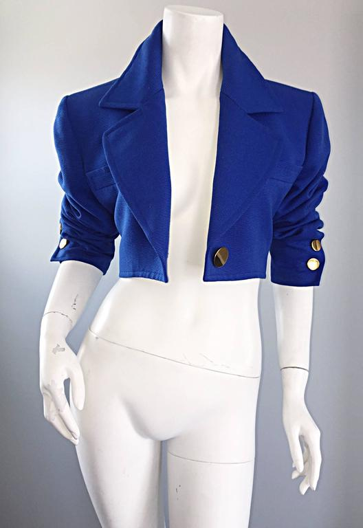 Vintage Yves Saint Laurent Rive Gauche Electric Royal Blue Cropped Bolero Jacket In Excellent Condition For Sale In San Francisco, CA